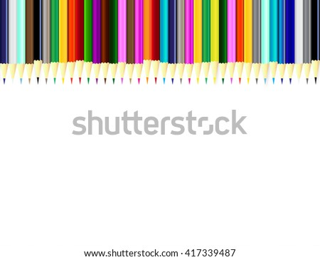 color pencils  with space for text on white background