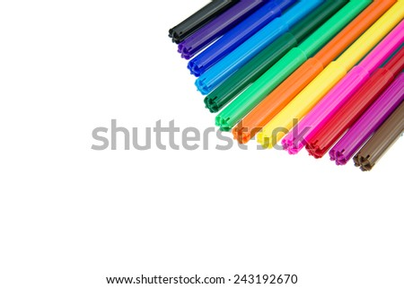 Color pens isolated on white background - stock photo