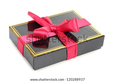 Color photo of a black cardboard box