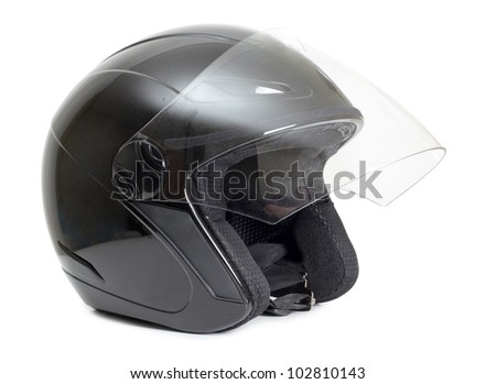 Color photo of a black protective helmet