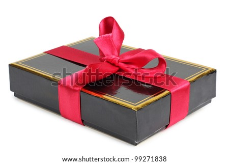Color photo of a box and ribbon