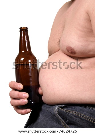 Color photo of a fat man with a beer - stock photo