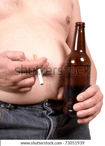 Color photo of a fat man with a beer and a cigarette - stock photo