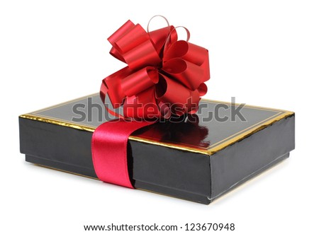 Color photo of a gift box and ribbon