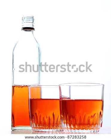 Color photo of a glass of whiskey - stock photo