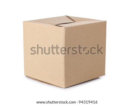 Color photo of a large cardboard box