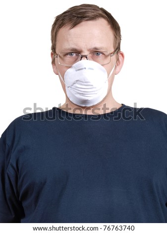 Color photo of a man in a medical mask
