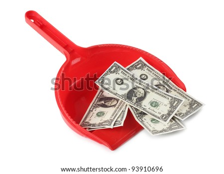 Color photo of a red scoop and paper money