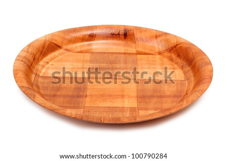 Color photo of an empty wooden plates