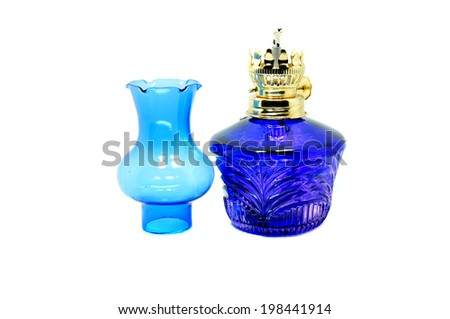 Color photo of an new kerosene lamp on a white background - stock photo