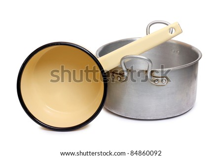 Color photo of an old aluminum pot - stock photo