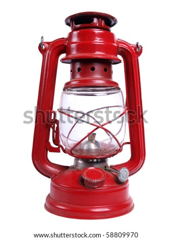 Color photo of an old red kerosene lamp on a white background - stock photo
