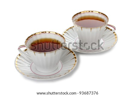Color photo of china cups of tea