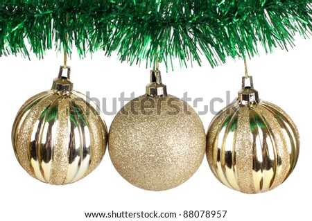 Color photo of christmas balls and needles