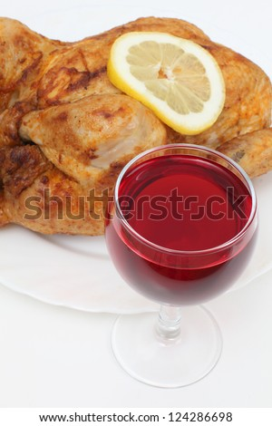 Color photo of fried chicken on plate and wine