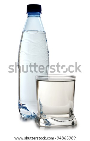 Color photo of glasses and bottles of water