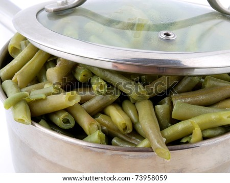 Color photo of green beans in a metal pan - stock photo