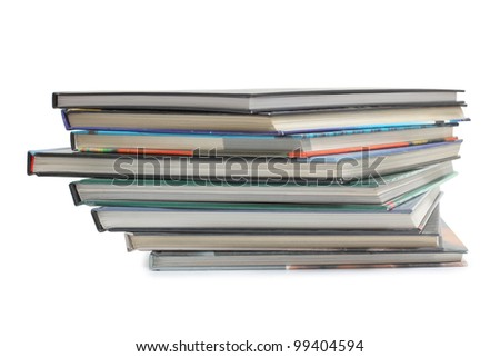 Color photo of large stack of paper books