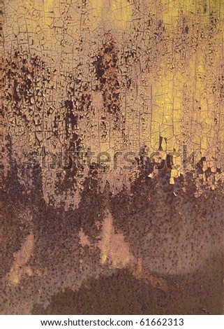 Color photo of metal surfaces with rust and paint - stock photo