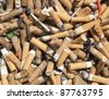 Color photo of pile of old butts - stock photo