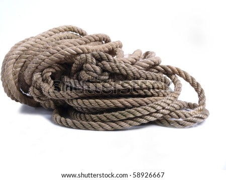 Color photo site on rough rope. Object on a white background
