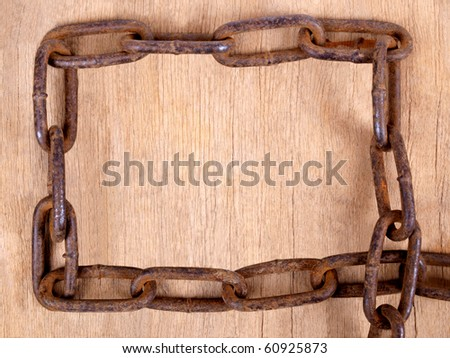 Color photograph heavy metal rust chain
