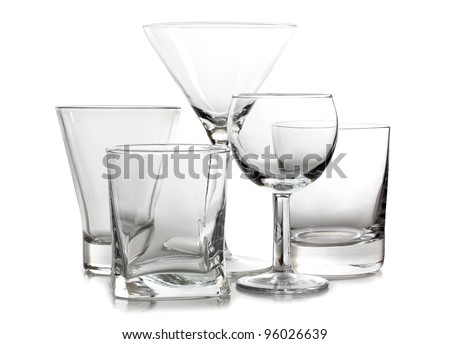 Color photograph of empty glasses of wine - stock photo