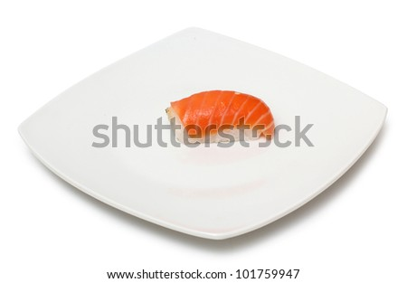 Color photograph of fish sushi on a plate