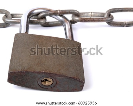 Color photograph of iron chain and padlock - stock photo