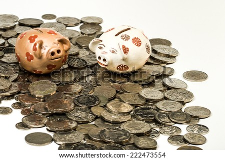 Color photograph of Piggy Bank and coins