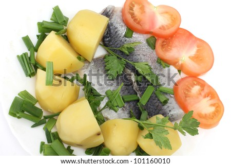 Color photographs of salt herring and potatoes on a plate - stock photo