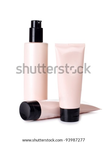 Color picture tubes of pink and cream - stock photo