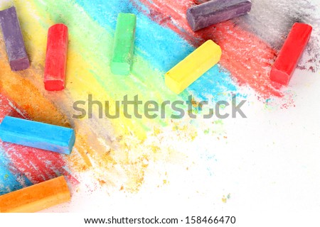 Color pieces of chalk on white background   - stock photo