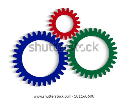 color pinion gears with a place for your text - stock photo