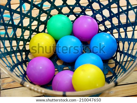 Color plastic balls in basket  - stock photo