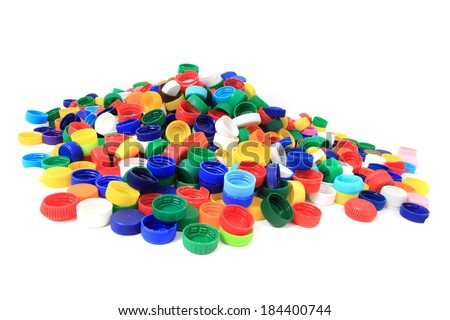 color plastic caps as recycle background