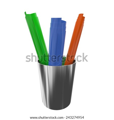 Color plastic rolls. 3d render illustration - stock photo