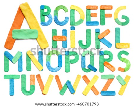 color plasticine alphabet isolated