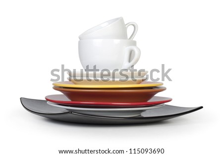 color plates and cups on white background