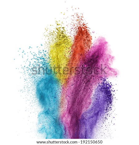 Color powder explosion isolated on white background - stock photo