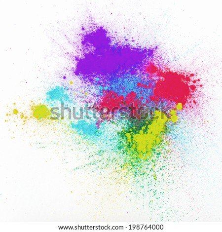Color powder on white background  - stock photo