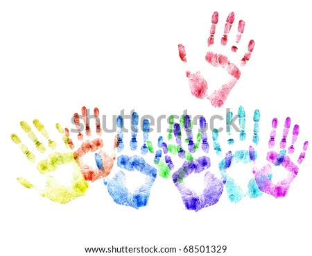 Color print of human hands.Concept of voting.The detailed image. It is isolated on a white background - stock photo