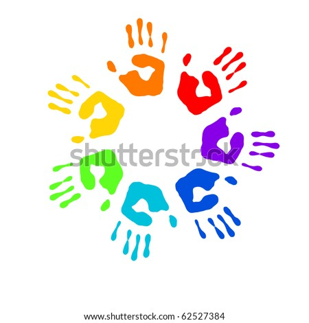 Color prints of small children's hands on whine