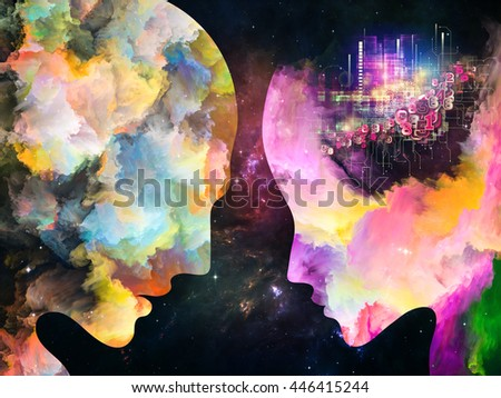Color Profiles series. Backdrop of colorful human profiles on the subject of inner life, mind, personality, creativity and emotions - stock photo