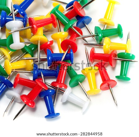 color push-pin thumbtack tool office isolated on white background - stock photo