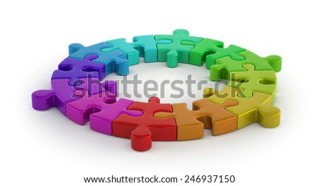 color puzzle ring - stock photo
