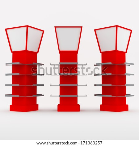 Color red shelves design for poles covered on white background