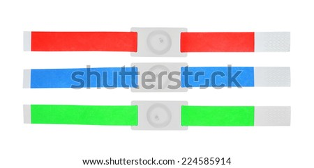 color rfid id bracelets on a white background - stock photo