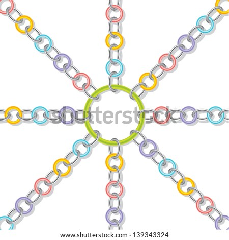Color rings bound together with silver ones - stock photo