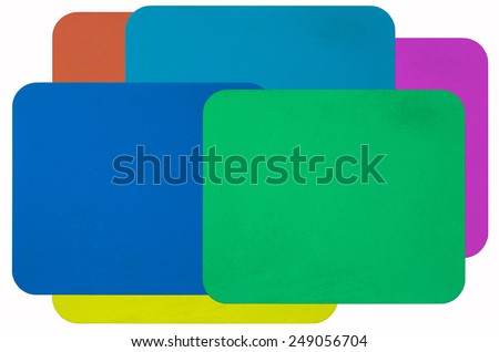 Color rubber mouse pads on white - stock photo